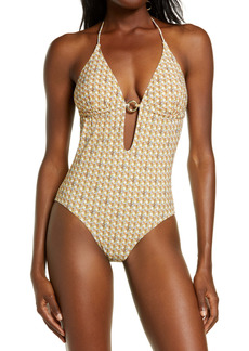 Tory Burch Basket Weave Print Ring One-Piece Swimsuit