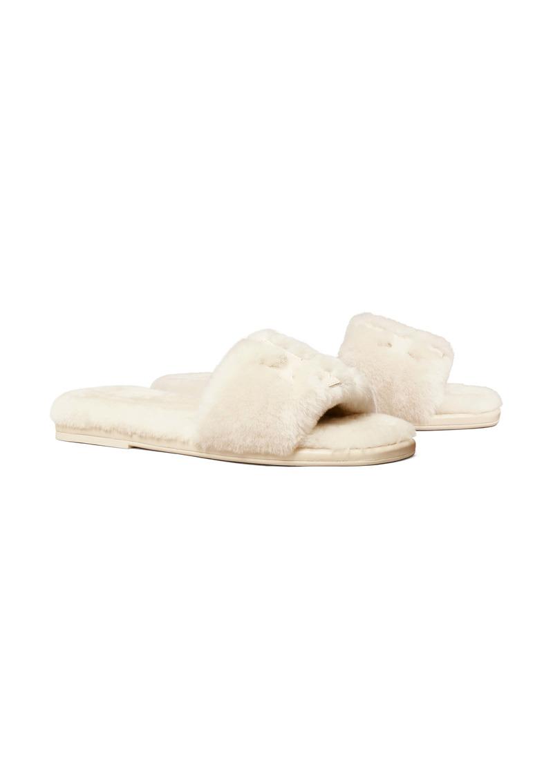 Tory Burch Double T Genuine Shearling Sport Slide Sandal (Women)