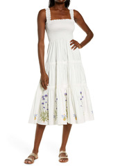 Tory Burch Embroidered Smocked Midi Dress