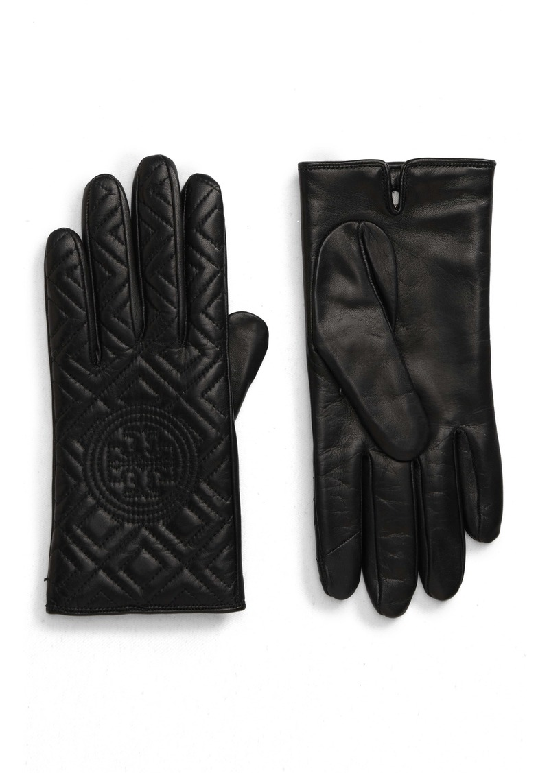 Tory Burch Fleming Quilted Lambskin Leather Gloves