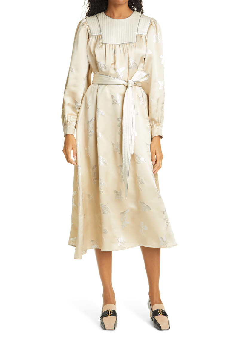 Tory Burch Floral Metallic Jacquard Long Sleeve Silk Dress