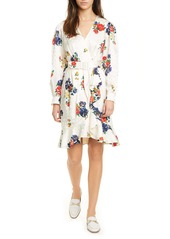 Tory Burch Floral Print Long Sleeve Silk Wrap Dress