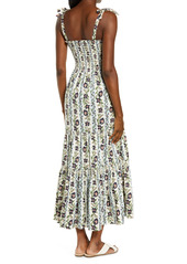 Tory Burch Floral Print Tie Shoulder Midi Cover-Up Dress