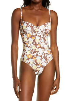 Tory Burch Floral Print Underwire One-Piece Swimsuit