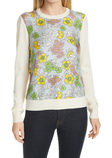 Tory Burch Floral Silk Front Sweater