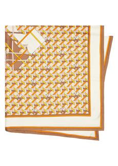 Tory Burch Logo Basketweave Silk Twill Scarf