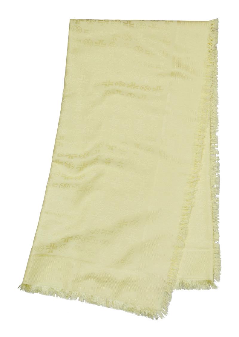 Tory Burch Logo Jacquard Cotton & Silk Travel Scarf