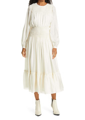 Tory Burch Long Sleeve Smocked Silk Maxi Dress