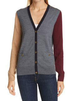 Tory Burch Madeline Colorblock Merino Wool Cardigan