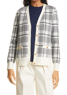 Tory Burch Madeline Plaid Cardigan