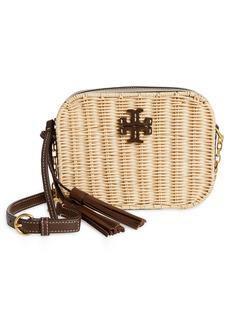 Tory Burch McGraw Wicker & Leather Camera Crossbody Bag