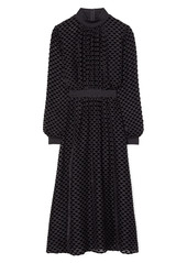 Tory Burch Metallic Detail Long Sleeve Velvet Devoré Dress