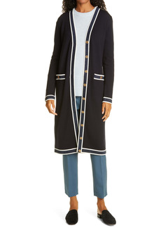 Tory Burch Metallic Trim Long Merino Wool Cardigan