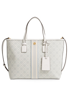 Tory Burch Monogram Small Coated Canvas Tote