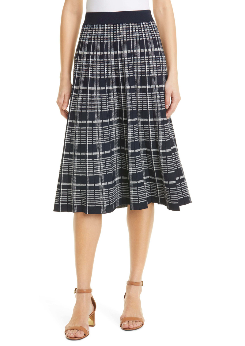Tory Burch Pleated Plaid Sweater Skirt