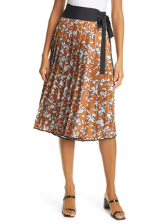 Tory Burch Print Pleated Silk Skirt