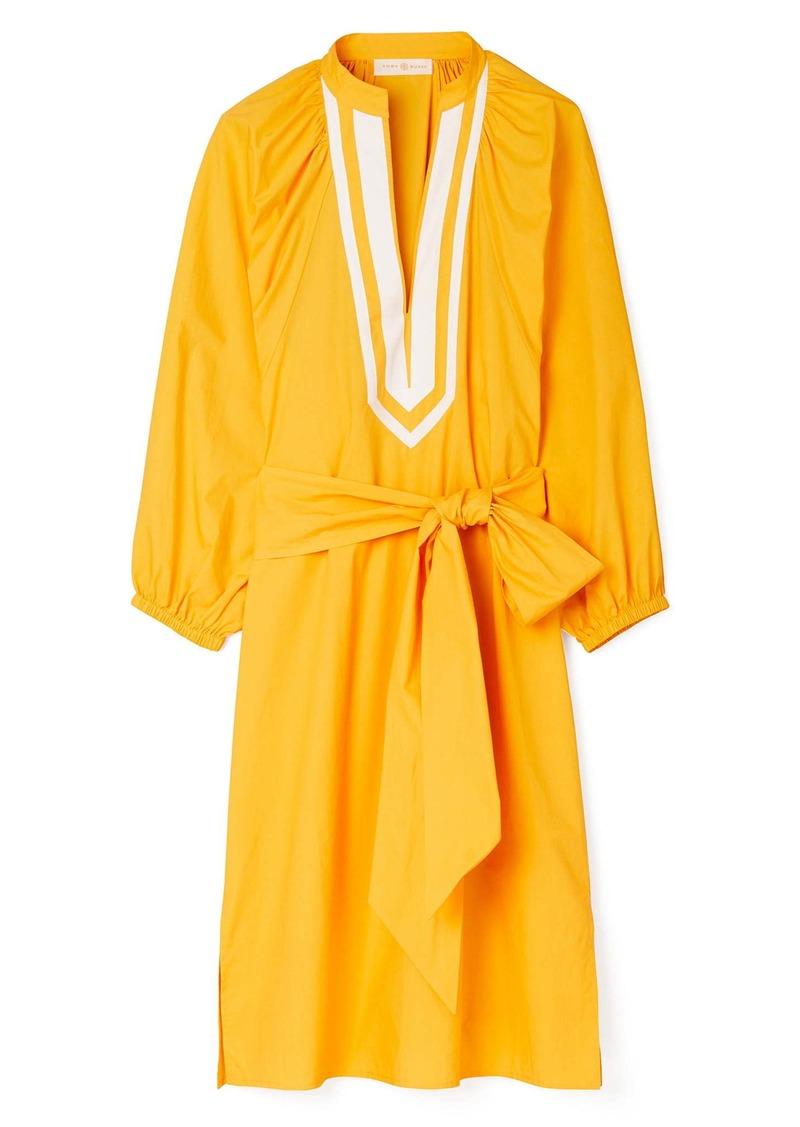 Tory Burch Puff Long Sleeve Cotton Poplin Tunic Dress