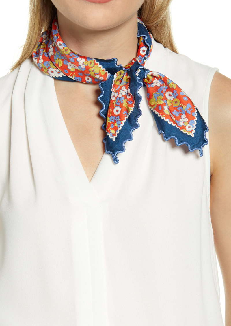 Tory Burch Red Confetti Silk Field Neckerchief