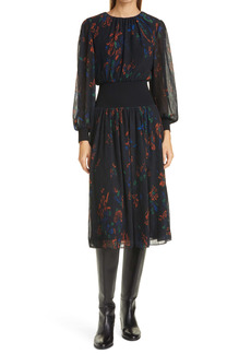 Tory Burch Rib Waist Long Sleeve Midi Dress