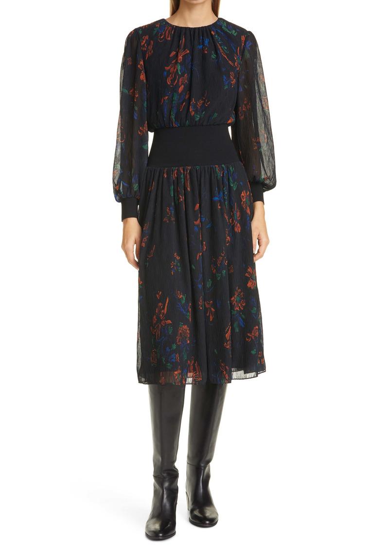 Tory Burch Rib Waist Long Sleeve Midi Dress