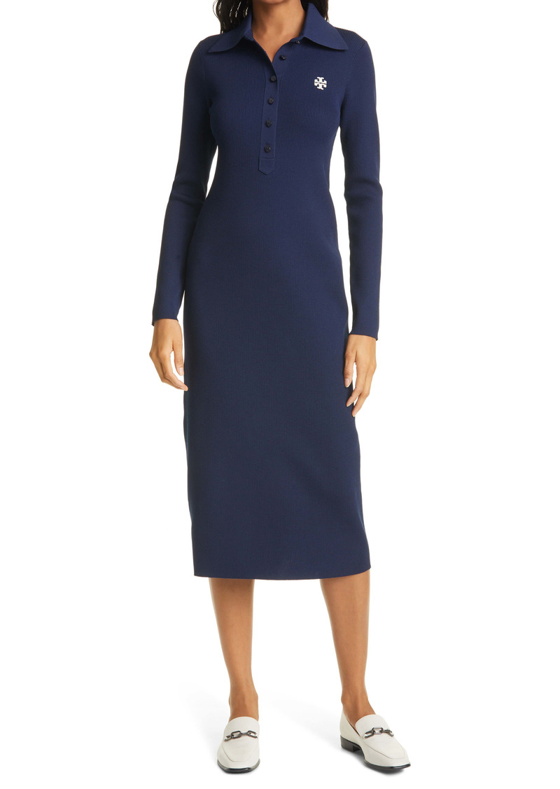 Tory Burch Ribbed Long Sleeve Polo Dress