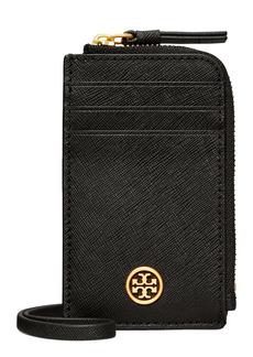 Tory Burch Robinson Saffiano Leather Card Case Lanyard