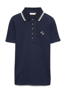 Tory Burch Ruffle Cotton Piqué Polo Shirt