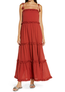 Tory Burch Ruffle Tie Shoulder Cover-Up Maxi Dress