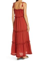 Tory Burch Ruffle Tie Shoulder Cover-Up Maxi Dress