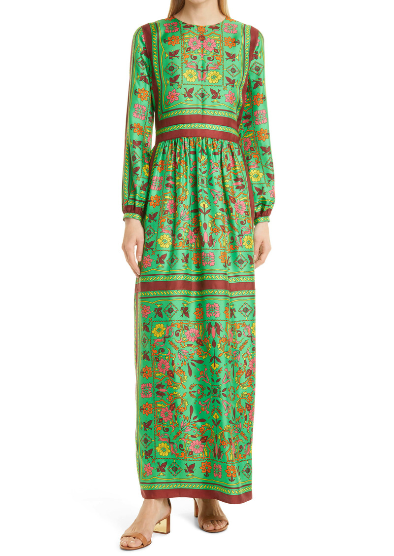 Tory Burch Scarf Print Long Sleeve Silk Maxi Dress