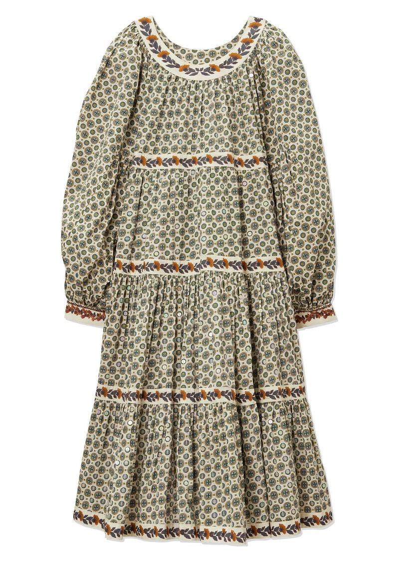Tory Burch Sequin Logo Print Long Sleeve Tiered Dress