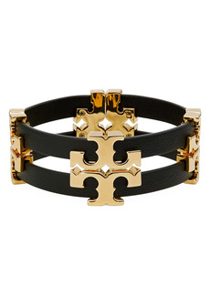 Tory Burch Serif T Stacked Leather Bracelet