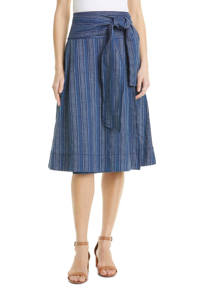 Tory Burch Side Tie Faux Wrap Linen Skirt