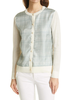 Tory Burch Silk Front Cardigan