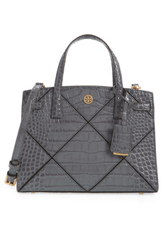 Tory Burch Small Walker Croc Embossed Leather Satchel
