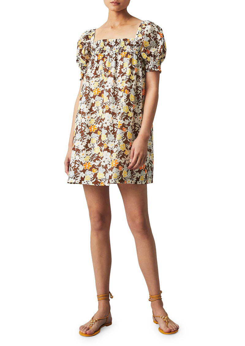 Tory Burch Smocked Floral Cover-Up Dress