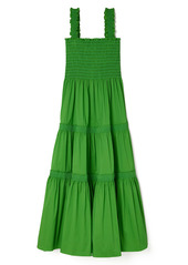 Tory Burch Smocked Tiered Cotton Blend Cover-Up Dress
