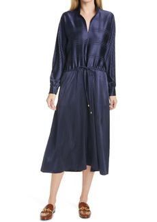 Tory Burch Stripe Long Sleeve Drawstring Silk Maxi Dress