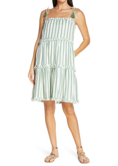 Tory Burch Stripe Tiered Cover-Up Dress