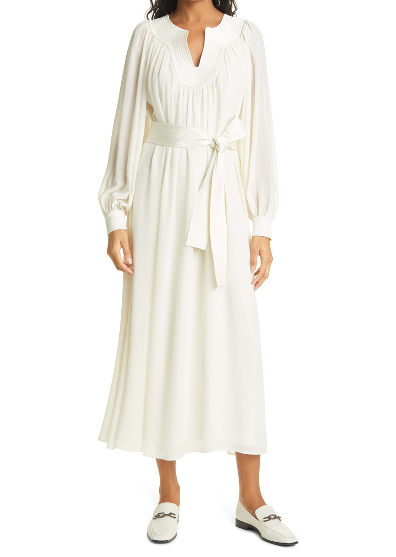 Tory Burch Trapunto Long Sleeve Chiffon Tunic Dress
