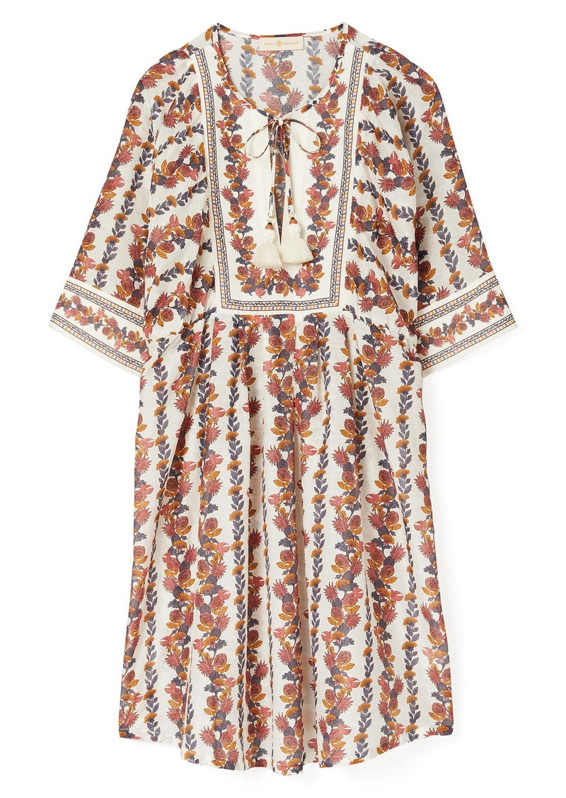 Tory Burch Tropical Print Cotton & Silk Cover-Up Tunic Dress
