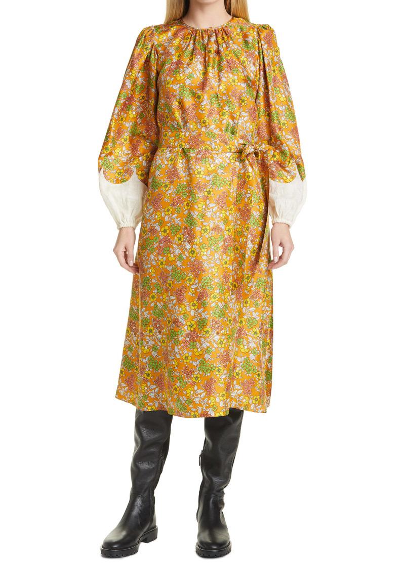 Tory Burch Wallpaper Floral Long Sleeve Silk Dress