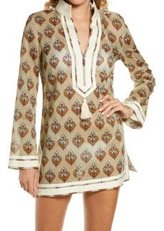 Women's Tory Burch Basket Weave Print Tassel Long Sleeve Cover-Up Tunic