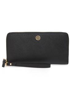 Women's Tory Burch Robinson Leather Passport Continental Wallet - Black