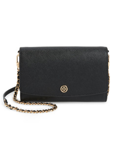 Women's Tory Burch Robinson Leather Wallet On A Chain - Black