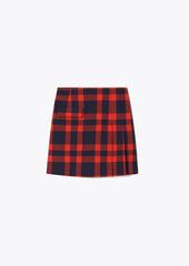 Tory Burch Yarn-Dyed Tech Twill Side-Pleat Skirt