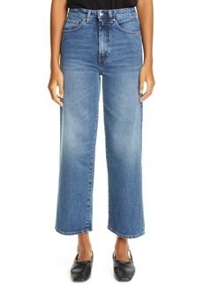 Totême Flair High Waist Flare Crop Jeans (Washed Blue)