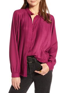 Women's Treasure & Bond Micro Pleat Button Up Blouse