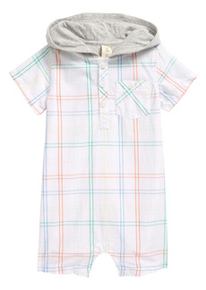 Tucker and Tate Tucker + Tate Check Print Hooded Romper (Baby)