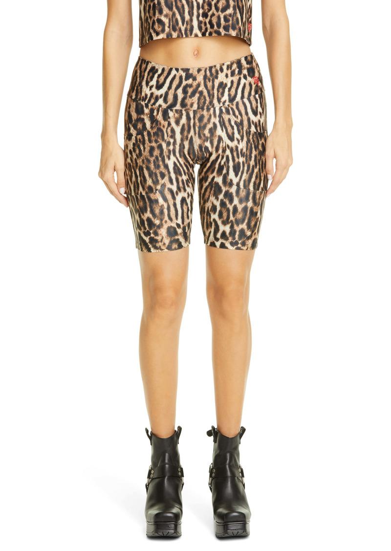 Twin Fantasy by R13 Leopard Print Patch Pocket Biker Shorts
